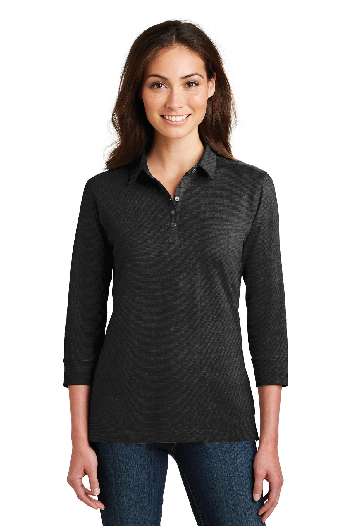 Port Authority Ladies 3/4-Sleeve Meridian Cotton Blend Polo. L578
